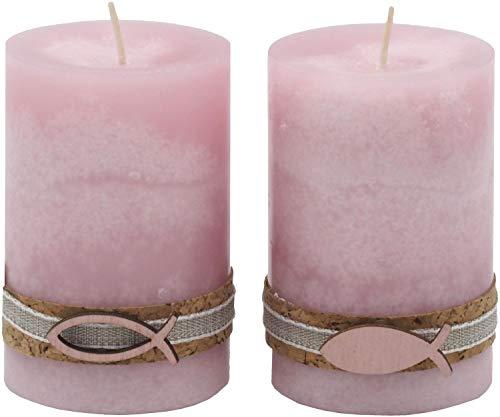 2 Stumpenkerzen Kerzen Rosa Kork Fisch Tischdeko Kerzendeko Kommunion Konfirmation Taufe
