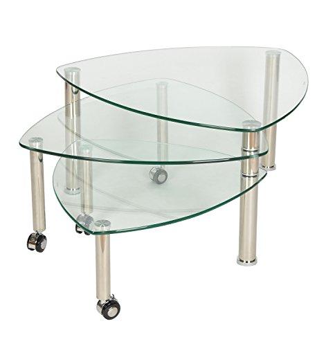 ts-ideen 3er Set Dreieck Glastisch Beistelltisch Couchtisch mit Rollen aus 10 mm ESG Sicherheitsglas