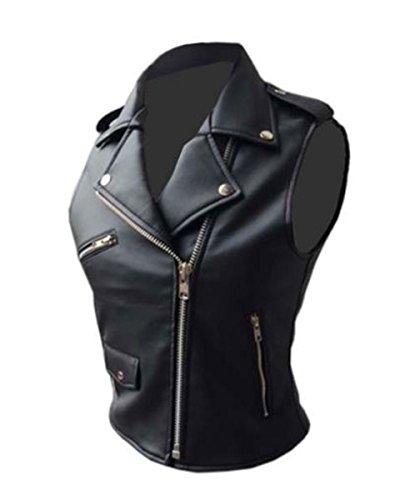 Damen-Bikerweste aus echtem Leder, im Brando-Stil, Schwarz Gr. 5X-Large, Schwarz
