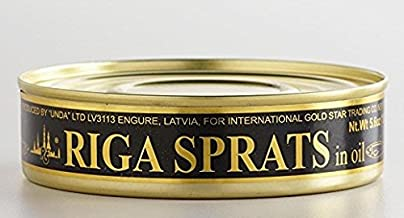 Latvian Smoked Riga Sprats in Oil 5.6 Oz. Tin Pack of 24