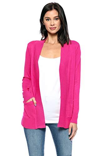 Urban Look Womens Basic Long Sleeve Open Front Comfy Sweater Cardigan (Medium, Hot Pink)