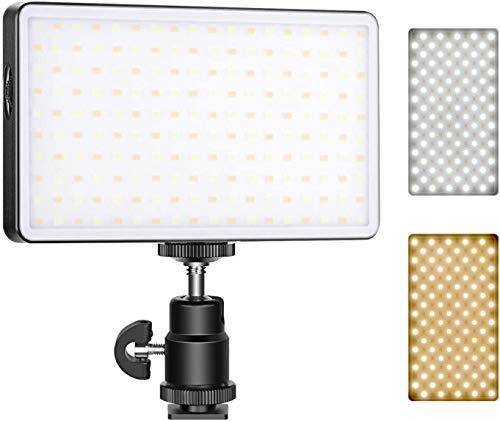 Neewer ML-180AI On-Camera Videoleuchte Taschenformat 180 SMD LED/Bi-color 3200-5600K/Dimmbare Helligkeit/CRI97+/4500mAh Akku/OLED Display/Magnetische Premium Aluminiumschale/Typ-C Ladung