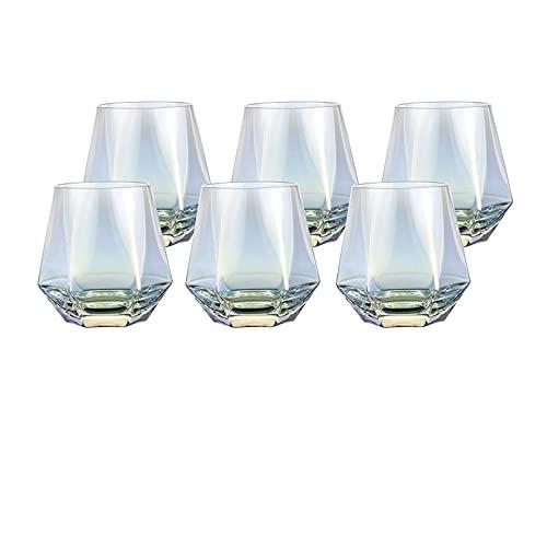 Guoz Copas de Vino,un Paquete de 6 Copas de Vino Tinto y Blanco Reutilizables sin Tallo,utilizadas para reuniones en Interiores y Exteriores,Transparente como el Cristal
