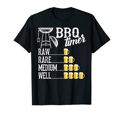 Cooler Grill-Timer Raw Rare Medium Well Lustiges Biertrinker Geschenk T-Shirt