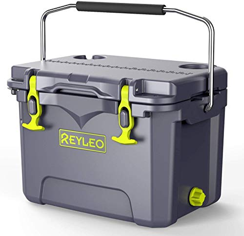 REYLEO Bear-Resistant 21-Quart Camping Cooler, 3-Day Ice Retention Ice Chest, 30-Can Capacity, Portable Chest Cooler for Camping&Outdoors (Gray)