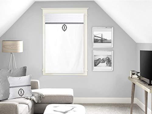 Soleil d'ocre Boudoir Brise-bise, Coton, Blanc, 60 x 90 cm