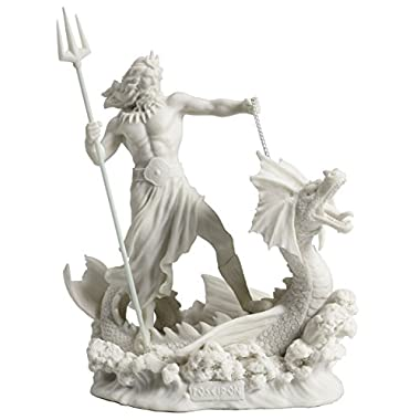 JFSM INC Poseidon Standing On Hippocampus with Trident Statue