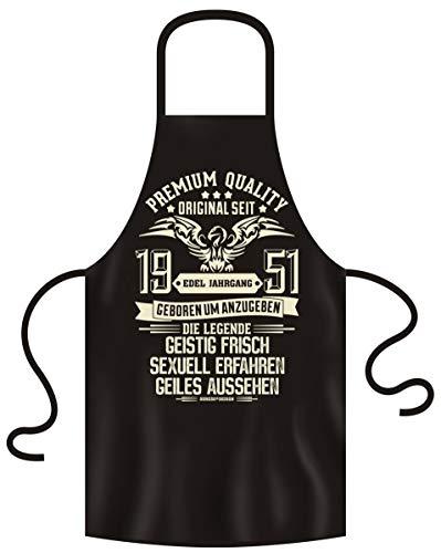 Soreso Design Grillschürze für Männer und Frauen 69 Geburtstag Edel Jahrgang 1951 Kochschürze Farbe: schwarz