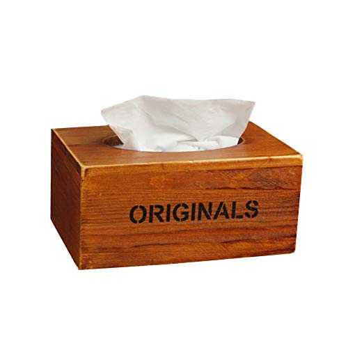 TTinah Cajas para pañuelos de Papel Caja para pañuelos de Papel De Madera de la Caja del Tejido Caja de pañuelos Cubre rectángulo Brown