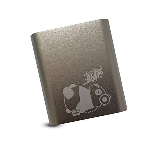 Panda Powerbank 10400 mAh, hohe Kapazität, externer Akku, Zusatzakku, sehr leicht, extra kompakter Akkupack, 2A Output, Ladegerät für Handy Smartphone Huawei Samsung iPhone iPad Tablet in silber