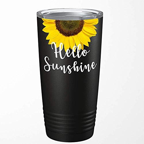 Hello Sunshine Sunflower Best Friend Gift for Women on Navy Blue 20 oz Stainless Steel Tumbler