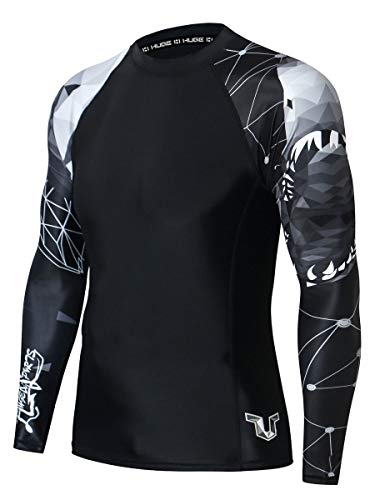 HUGE SPORTS Wildling Series UV Protection Quick Dry Compression Rash Guard (Shark,M)
