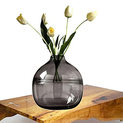 LXLAMP Jarron Grande de Suelo, jarrón Cristal Grande jarrones Decorativos Jarrones de Flores, Elegante Decoración para la Decoración del Escritorio - Altura 20 cm (Color : Gray)