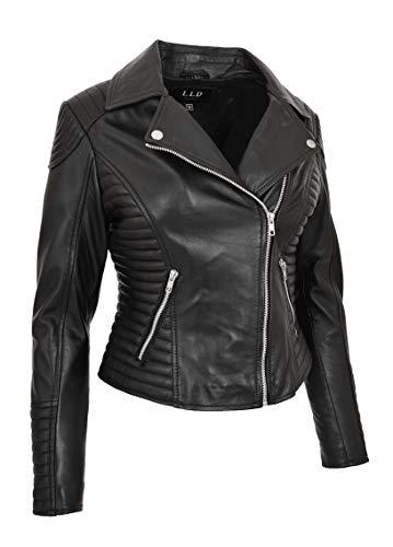 Damen Designer Leder Biker-Jacke Weiches Schwarz Ausgestattet Gesteppt Reißverschluss Mantel Bonita (XS - EU 34)