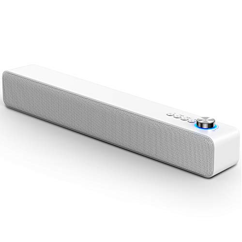 LENRUE Computer Speakers, Bluetooth 5.0 PC Speakers with MIC, Wired/Wireless Speaker for Desktop Computer, PC, Laptop, iPad, Tablet, Phone and More (White)