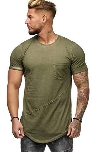 OneRedox Herren Shirt Hoodie Longsleeve Kurzarm Shirt Sweatshirt T-Shirt 9032 Kaki M