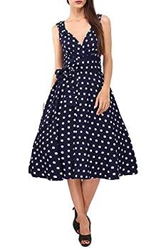 Dress 40s 50s Swing Vintage Rockabilly Ladies Retro Prom Party Plus Size 6-24  22 Navy