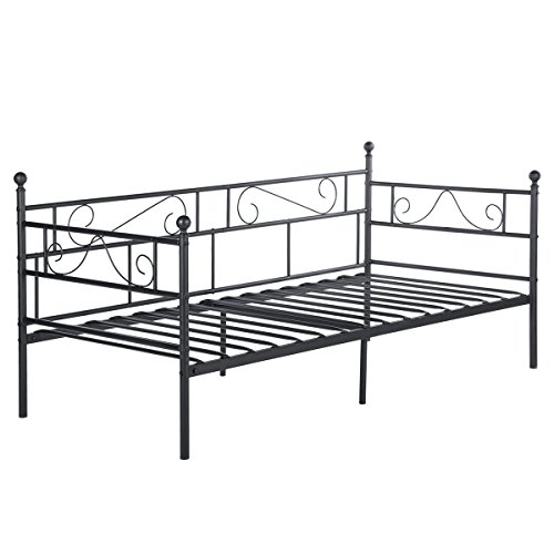 DORAFAIR Cama Metálica diván Cama Individual Marco de Cama para Niños Habitación Habitación Dormitorio Balcón Jardín Cama 95 x 195,Negro