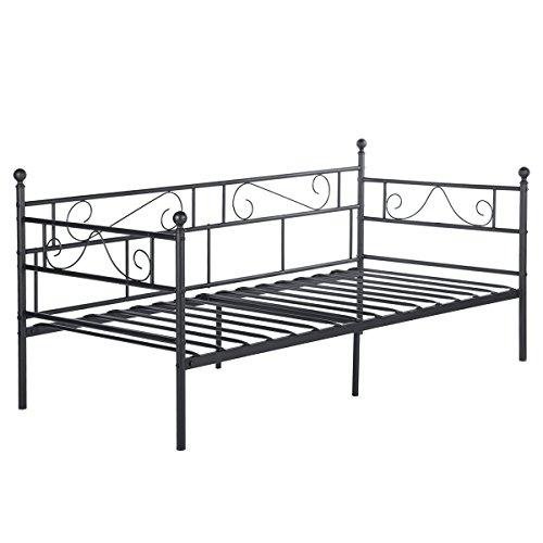 DORAFAIR Klassisch Bettsofa Schlafsofa für Kinderzimmer Gästezimmer,Einzelbett Single Bett Metallbett Tagesbett,Schwarz