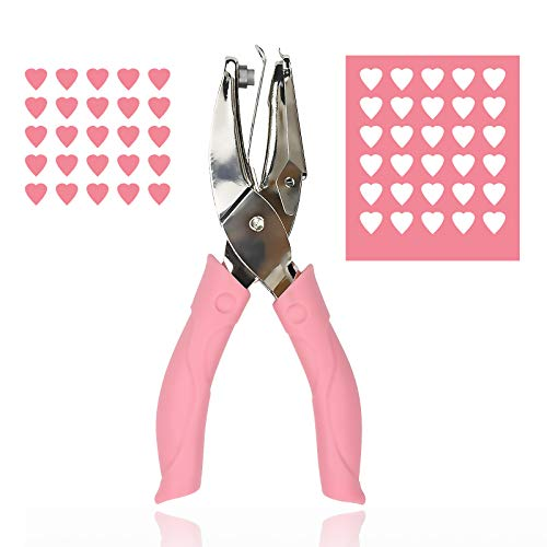 Heart Hole Punch for Paper Crafts- Single Shape Metal Handheld for Kids Scrapbook Tags (1/4 Inch)