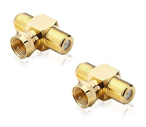 conecto Sat-T-Stück 1-mal F-Stecker auf 2-mal F-Buchse, T-Verteiler für Sat-Verkabelungen vergoldet (2 Stück)