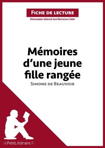 Mémoires d'une jeune fille rangée de Simone de Beauvoir (Fiche de lecture): Résumé complet et analyse détaillée de l'oeuvre (LEPETITLITTERAIRE.FR)