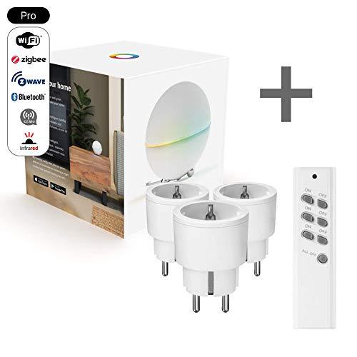 Homey Pro + Trust 3+1 Funkschalter-Set | Kompatibel mit Alexa, Google Home, Homekit | Enthält Z-Wave, ZigBee, WLAN, BLE und 433 MHz