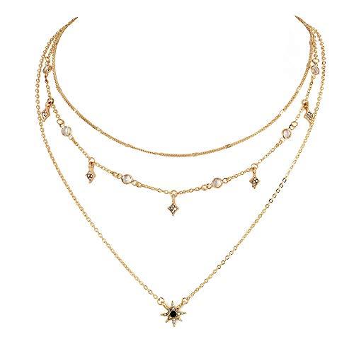 Vektenxi Durable Bohemia Crystal Star Choker-Halskette für Damen Europa und Amerika Multi-Layer-Choker