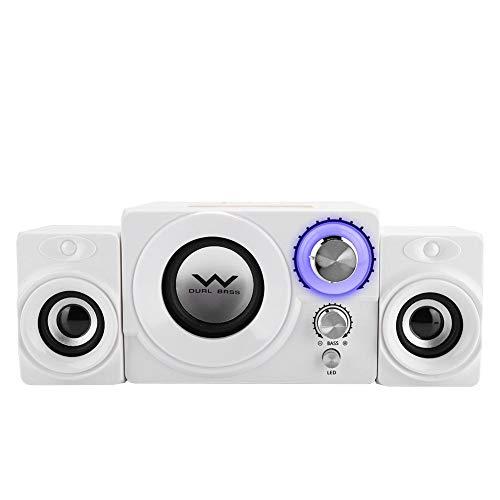 Garsentx Altavoz para computadora, Mini Altavoz de 2.1 Canales Houshold Soundbox Altavoz estéreo portátil con Cable/inalámbrico para música para teléfonos Inteligentes, computadoras de Escritorio.