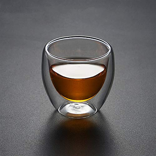 Gläser Transparentes Glas Kaffeetasse Milch Whisky Tee Bier Doppel Creative Hitzebeständige Cocktail Wodka Wein Becher Drinksewaren Tumbler Cups Maje Wassergläser (Color : No Handle 80ml)