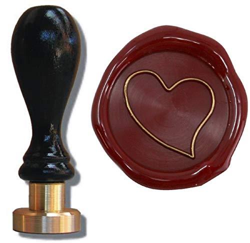 Siegel Stempel Petschaft Herz asymmetrisch 24 mm, Siegelstempel Briefsiegel Hochzeit Liebe