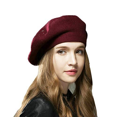 Leisofter Femme Béret Bonnet Chapeau de Béret Français en Laine Vintage Classique Artiste Solide Couleur Laine Casquette Béret Bonnet