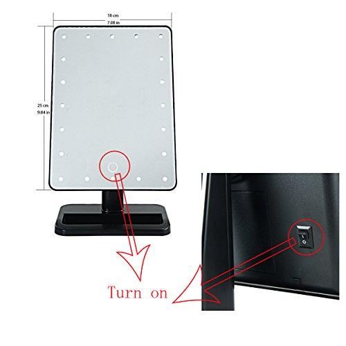 20LED Kosmetik Make up Spiegel/Make-up-Touch Bildschirm Spiegel batteriebetrieben 360Grad freie Rotation verstellbar dimmbar Tischplatte hg107