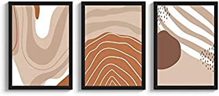 SC CREATIVES Set of 3 Abstract Pastel Colors Framed Art Prints Painting with Plexi Glass 12 x 9 Inches Wall Art Gift Poste...