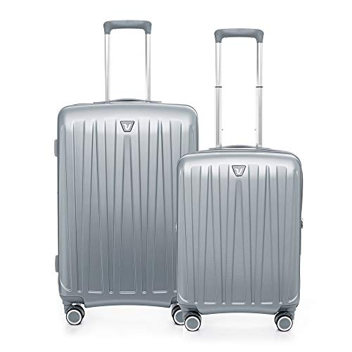 RONCATO Antares - Juego de 2 trolley rígidos ampliables (medio + cabina) 4 ruedas tsa Silver