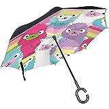 Wheatleya Regenschirm-Alpaka-Familienauto-Umkehrschirme, die winddichten Schutz mit C-förmigem Griff Falten