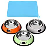 3 Piece Cat Food Bowl, Queta Stainless Steel Cat Bowl Set Feeding Bowl Cat Food Bowl Water Feeding Bowl with a Bowl Mat