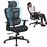 SAMOFU Office Chair - Ergonomic High Back Desk Chair with Backrest Lifting, Waistrest Angle Adjustment-Reclining & Rocking Mesh Computer Chair with Adjustable Headrest,Armrest
