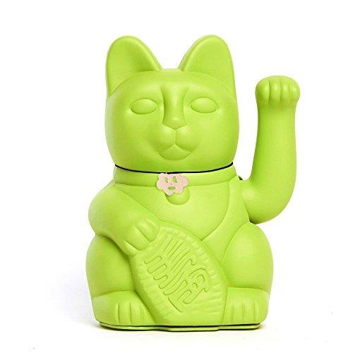 Gato de la Suerte chino. Lucky Cat. Maneki Neko. COLOR VERDE CLARO 12x9x18cm