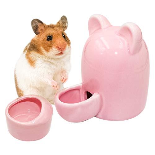 Hamster Trinkflasche Keramik Automatischer Wasserspender Meerschweinchen Trinkwasser Feeder, Hamster Wasserflasche mit Hamster Keramik Napf für Hamster, Chinchilla, Meerschweinchen, Igel, Vogel (Rosa)