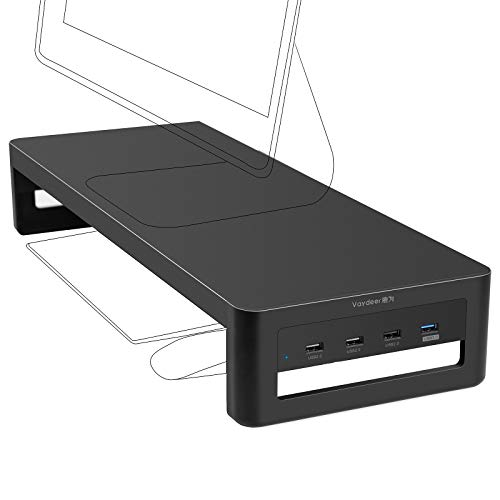 VAYDEER Soporte Monitor con concentrador USB 3.0/2.0, Soporte Monitor Mesa de Acero Que admite Transferencia de Datos y Carga, Metal Elevador Monitor de hasta 32 Pulgadas para PC, portátil - Negro