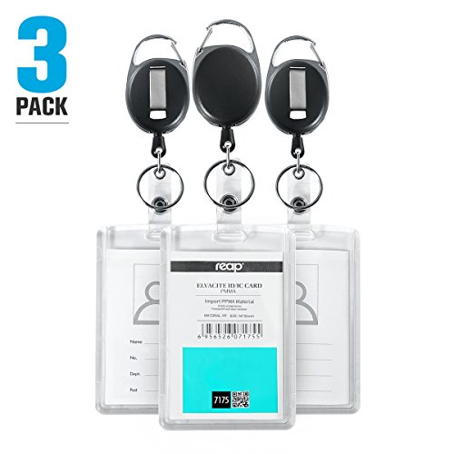 3 Pack Heavy Duty Retractable ID Badge Holder - Hard Plastic Clear Acrylic Top Loading Two ID Card with Retractable Badge Reel Belt Clip by REAP