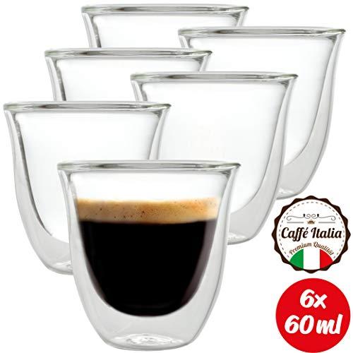 Caffé Italia Napoli 6 x 60 ml Espressogläser Doppelwandig - für Espresso Tee Heiß- und Kaltgetränke - spülmaschinengeeignet