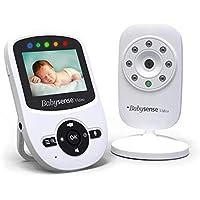 BabySense Monitor de video para bebés con cámara, visión nocturna infrarroja, conversación bidireccional,temperatura ambiente,canciones de cuna, batería de largo alcance y alta capacidad-Modelo: V24UK