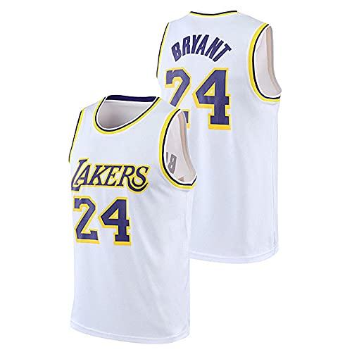 DDSGG Camiseta para Hombre y Mujer - NBA Lakers 24# Kobe Bryant Camiseta de Malla Chaleco de Baloncesto Transpirable, Camiseta Deportiva de Manga Corta Bordada Swingman