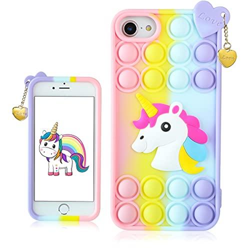 STSNano Bubble Unicorn Case Cover Silicone Fidget for iPhone 6/6S/7/8/SE...