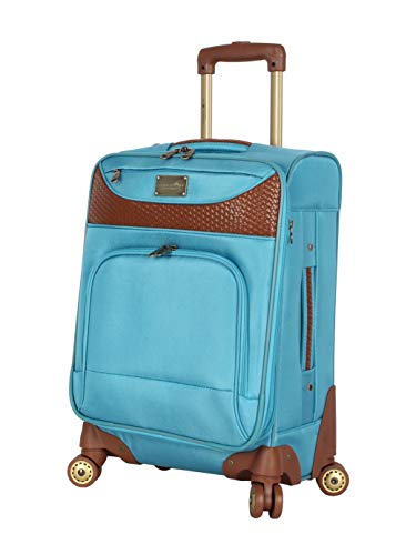 Caribbean Joe Carry on Luggage Collection - Designer Lightweight Softside Expandable Suitcase- Durable 20 Inch Bag with 8-Rolling Spinner Wheels (Light Blue)