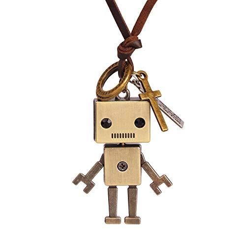 ZLESAGII Roboter Halskette mit Anhänger ET Außerirdischer Leder Kette Silber Film Liebhaber Fan-Merch Schmuck Geschenke für Damen Frauen Mädchen