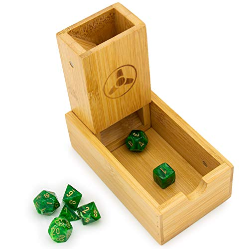 Hominize Bamboo Dice Tower - Premium Dice Rolling Tower and Tray for RPGs and Board Games