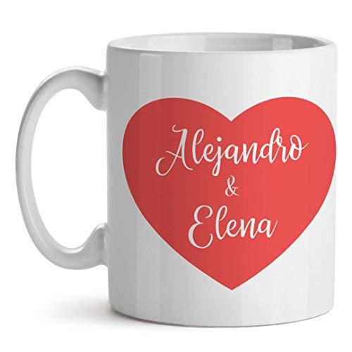 Taza Personalizada San Valentín Te Quiero Mucho Corazón (Nombres)